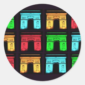 Arch De Triumph Collage Classic Round Sticker