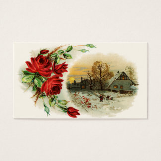 Arch of Roses with Victorian Vignette Business Card
