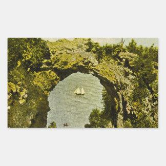 Arch Rock, Mackinac Island Vintage Rectangular Sticker