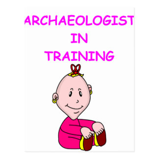 archaeologist baby postcard