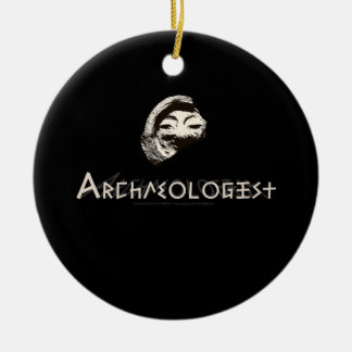 Archaeologist in Primitive Greek Letters Double-Sided Ceramic Round Christmas Ornament