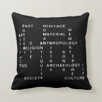 Archaeology and anthropology crossword puzzle throw pillow