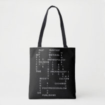 Archaeology and anthropology crossword puzzle tote bag