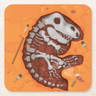 Archaeology Dinosaur Bones Dig Square Paper Coaster