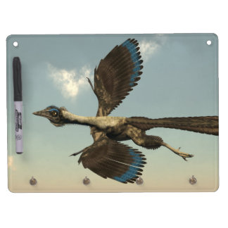 Archaeopteryx birds dinosaurs flying - 3D render Dry Erase Board With Keychain Holder