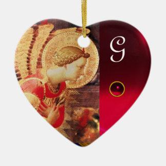 ARCHANGEL GABRIE Heart Gemstone Monogram Ceramic Ornament