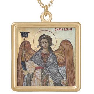 Archangel Gabriel Square Pendant Necklace