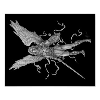 Archangel Michael- Black Background Poster