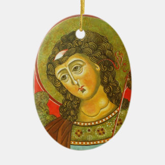 Archangel Michael Double-Sided Oval Ceramic Christmas Ornament