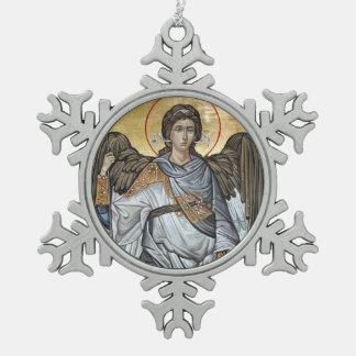 Archangel Michael Snowflake Pewter Christmas Ornament