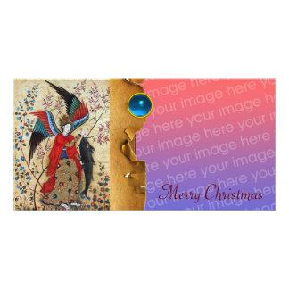 ARCHANGEL RAPHAEL AND FISH CHRISTMAS PARCHMENT CUSTOM PHOTO CARD