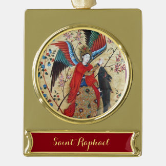 ARCHANGEL RAPHAEL AND FISH PARCHMENT GOLD PLATED BANNER ORNAMENT