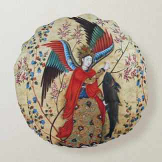 ARCHANGEL RAPHAEL AND FISH PARCHMENT ROUND PILLOW