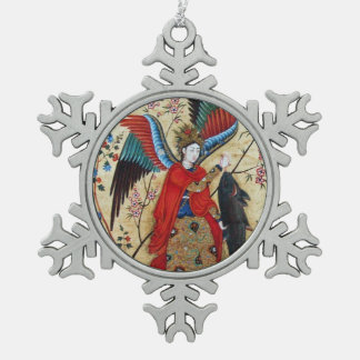 ARCHANGEL RAPHAEL AND FISH PARCHMENT SNOWFLAKE PEWTER CHRISTMAS ORNAMENT