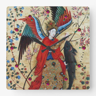 ARCHANGEL RAPHAEL AND FISH PARCHMENT SQUARE WALL CLOCK
