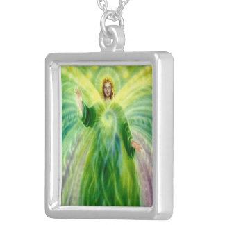 Archangel Raphael Pendent Necklace. Square Pendant Necklace