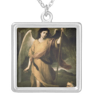 Archangel Raphael with Bishop Domonte Silver Plated Necklace