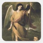 Archangel Raphael with Bishop Domonte Square Stickers