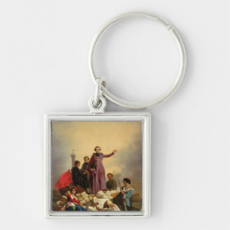 Archbishop Affre on the Barricades, 1848 Silver-Colored Square Keychain