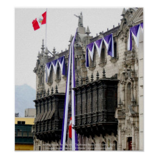 """Archbishop's Palace with """"Jealousy Balconies"""" Lima Poster"""