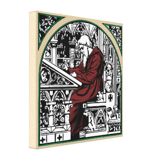 Arched Alcove Medieval Writing Desk and Monk Canvas Print