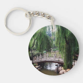 Arched Bridge in peaceful park Keychain