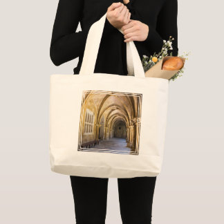 Arched Cathedral Cloister Hallway Large Tote Bag
