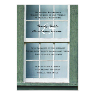 Arched Church Window Catholic Wedding Invitation
