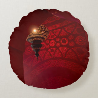 Arched entrance and illuminated lantern round pillow