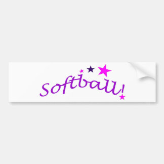 Arched Softball with Stars Car Bumper Sticker