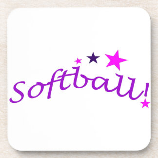 Arched Softball with Stars Coaster