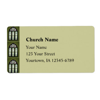 Arched Stained Glass Window on Olive Green Shipping Label