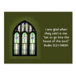 Arched Stained Glass Window on Olive Green Post Card