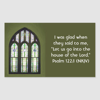 Arched Stained Glass Window on Olive Green Rectangular Sticker