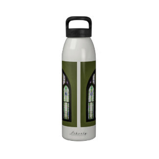 Arched Stained Glass Window on Olive Green Drinking Bottle