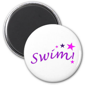 Arched Swim with Stars 2 Inch Round Magnet
