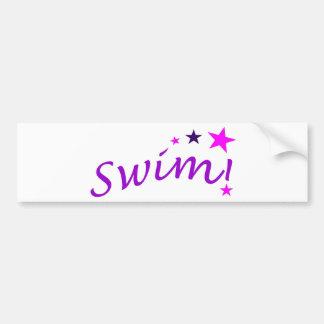 Arched Swim with Stars Car Bumper Sticker
