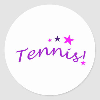 Arched Tennis with Stars Classic Round Sticker