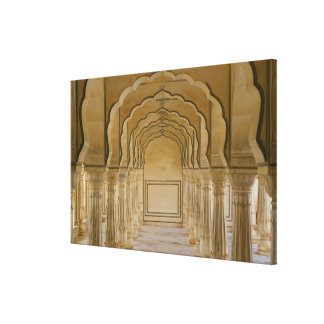 Arched walkway with columns inside Amber Palace, Canvas Print