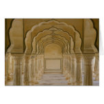 Arched walkway with columns inside Amber Palace, Card