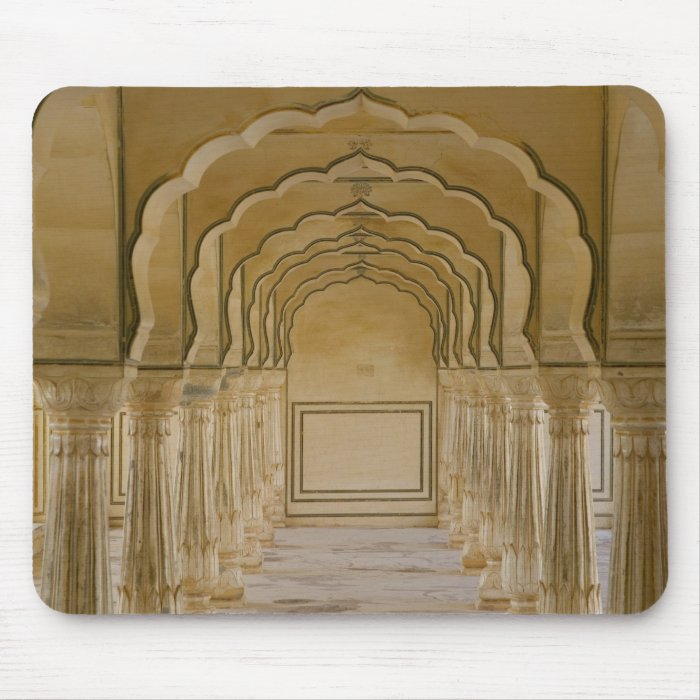 Arched walkway with columns inside Amber Palace, Mouse Pad