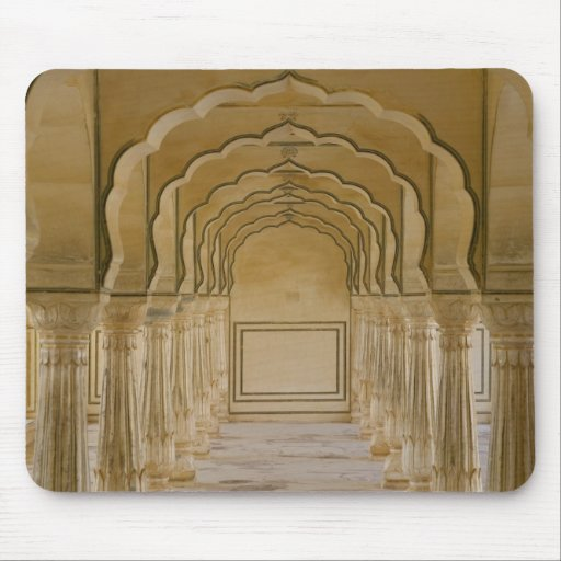 Arched walkway with columns inside Amber Palace, Mousepad