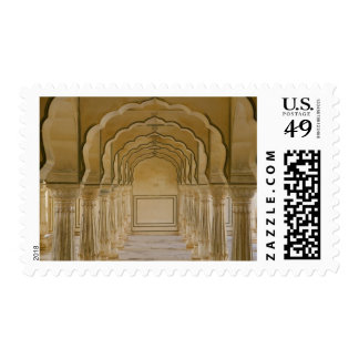 Arched walkway with columns inside Amber Palace, Postage Stamp