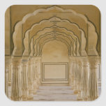 Arched walkway with columns inside Amber Palace, Square Sticker