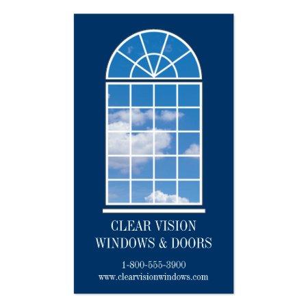Stylish Blue Arched Window Architect Business Cards