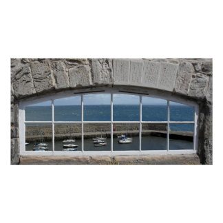 Arched Window with Fishing Harbor View Posters