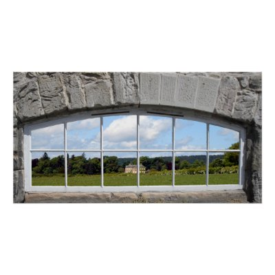 Arched Window with Rural View print