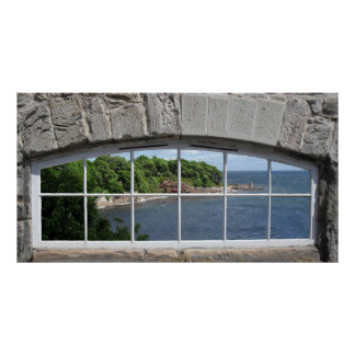 Arched Window with Sea View Poster