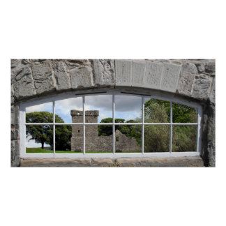 Arched Window with View of Scottish Castle Posters