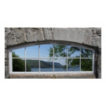 Arched Window with View of Sottish Loch Posters